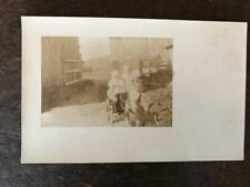 Vintage RPPC Photo Postcard Goat pulling Little Kids in A Cart horns B&W