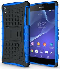 BLUE GRENADE GRIP RUGGED TPU SKIN HARD CASE COVER STAND FOR SONY XPERIA Z2 PHONE