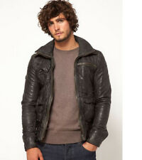 Superdry Tarpit Leather Jacket - SMALL -  Distressed Charcoal - RRP £349.99