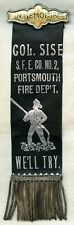Wonderful 1890's Col. Sise Steam Fire Engine No. 2 Memorial Parade Ribbon