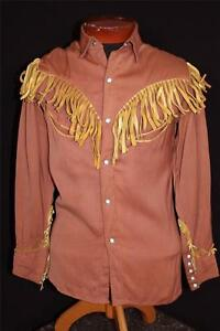 VINTAGE 1940'S-1950'S RUST BROWN GABARDINE COWBOY SHIRT BUCKSKIN FRINGE SIZE SM