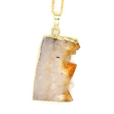 Natural Raw Mineral Druzy Citrine Quartz Crystal Stone Pendant Chain Necklace