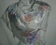 Liz Claiborne Designer Scarf Vintage 33 Square Silk Gray Rolled Edge Ladies
