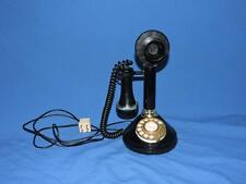 Vintage Roaring 20s Black Rotary Dial Telephone Candlestick Style Desk Phone