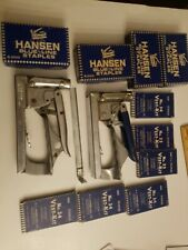 Two Vintage Hanson Staplers #35 & # 3 + 10 Boxes Of Vintage Staples