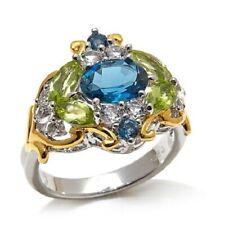 Victoria Wieck 2.6ctw London Blue Topaz, Peridot and White Topaz 2-Tone Ring$130