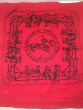 """Vintage Riders in the Sky Light Red Bandana Neck Scarf ~ NEW 22"""" X 21"""""""