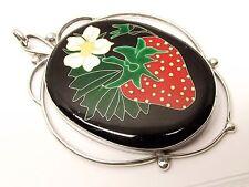 Vtg Sterling Silver Enamel Cloisonne Pendant Strawberry Heavy Large Colorful