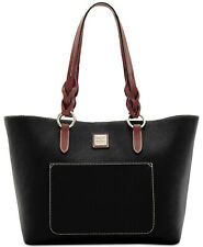 Dooney & Bourke Patterson Tammy Black Tote Tan Trim Handbag