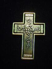 "Pewter Grapes Cross Pin ""Jj"" Jonette Jewelry Bright Bronze"