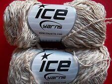 Ice Yarns Summer twist yarn, beige/white, lot of 2 (165 yds ea)