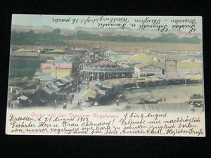 1903 CIRCUS SIDESHOW MIDWAY HAND TINTED POSTCARD UNDIVIDED BACK DRESDEN GERMANY