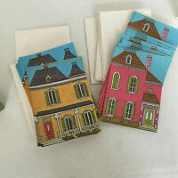 vintage stationery Victorian house folded letter sheets yellow pink house paper