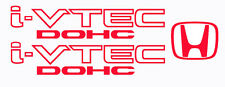 Honda I-Vtech DOHC Decal Stickers Set of 3  Civic Accord Prelude CRX SI RED