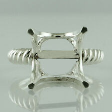 Semi Mount Cushion Shape Ring C/B Setting 925 Silver Wedding Occasion Jewelry