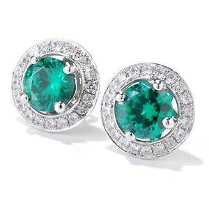 "Platinum O/ Silver 3.42Ctw Green Emerald Color Cz Studs Earring 0.43""L"