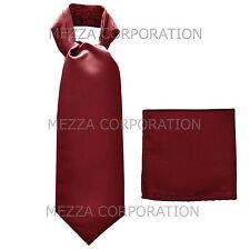 New Vesuvio Napoli Men's Polyester Ascot Cravat Necktie Hankie Solid Burgundy