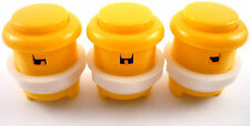 3 x 28mm Round Convex Curved Arcade Push Buttons & Microswitches (Yellow) - MAME