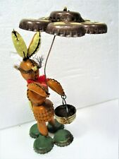 UNIQUE CIRCA 1960'S BOTTLE CAP FOLK ART RABBIT HOLDING UMBRELLA TAB SODA