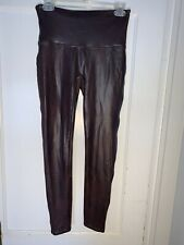 Spanx Brown Vegan Faux Leather High Rise Leggings Pants Size Large