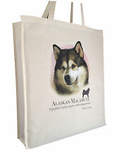 Alaskan Malamute Cotton Shopping Tote Bag with Gusset and Long Handles