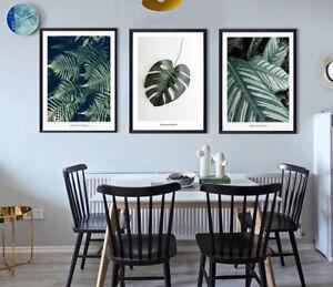 3 Piece Canvas Prints Set - Green Monstera Tropical Plants Leaf Art - Unframed