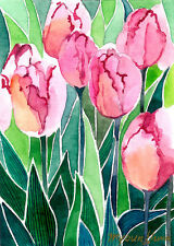 ACEO Limited Edition - Pink tulips