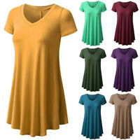 Womens Short Sleeve V Neck Solid Basic T Shirt Print Tunic Shirt Casual Tops US