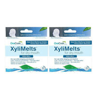 2 Pack OraCoat XyliMelts Mild-Mint for Dry Mouth 40 Discs Each