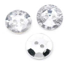 25 Crystal Bling, 2 Holes Acrylic Sewing Buttons Scrapbooking 18mm