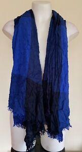 Unbranded Womens Blue Tone Print Square Pattern Lightweight Autumn Scarf Tassels