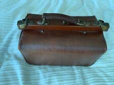 Antique French leather elegant doctors Art Nouveau bag