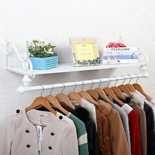 Métal mur vêtements réglables Hanger rack Support Tringle à vêtements blanc