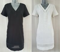 Ladies NEXT Shift Dress Linen Summer Black Office Ivory TShirt Smock Beach Size