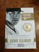 JACOBY ELLSBURY 2012 PANINI NATIONAL TREASURES JERSEY BUTTON PATCH SERIAL #6/6