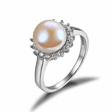10mm White Freshwater Pearl & Cubic Zirconia Halo Sterling Silver Ring Size 7