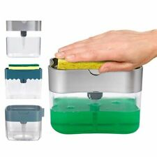 Manual Press Liquid Soap Dispenser With Washing Sponge Kitchen Bathroom Gadgets