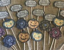 28 Halloween Cupcake Toppers Party Cake Trick or Treat Pumpkin Eyeballs Flowers