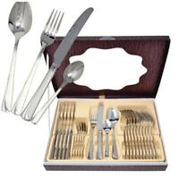 24pc Swiss Heavy Stainless Steel Cutlery Set Tableware Dining Utensils Boxed 67C