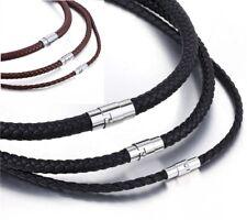 Echt Leder Kette geflochten Edelstahl Magnet Halskette Braun Schwarz 4 - 8 mm