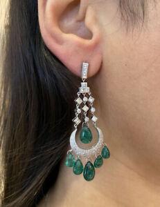 Chandelier Emerald Briolette & Diamond Drop Earrings TW21.31ct in Plat- HM1983S7