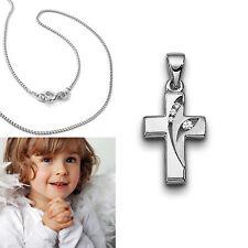 Kinder Zirkonia Kreuz Anhänger zur Taufe Erst- Kommunion mit Kette Silber 925