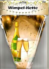 1 Wimpelkette Motiv  Sektflasche & Gläser 10m Kunststoff Hochzeit Silvester Deko