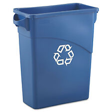Rubbermaid Commercial Slim Jim Recycling W/Handles Rectangular Plastic 15.875gal