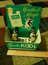 "B&W Tobacco ~ Kool Menthol Magic ""Willie & Millie"" Penguin S&P Shakers + Tray"