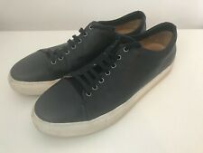 JIGSAW 'CAMPBELL' DARK NAVY BLUE RRP £98 LEATHER TRAINERS SNEAKERS 10 -11 44-45