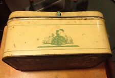 VTG Metal Tin CHEINCO ? Bread Box Green Yellow Victorian Mid Century Country Old