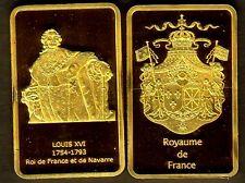 ★★★★★ MAGNIFIQUE LINGOT PLAQUé OR ● ROIS DE FRANCE ● LOUIS XVI ★★★★