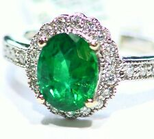 2.06CT 14K Gold Natural Emerald Round Cut White Diamond Vintage Engagement Ring