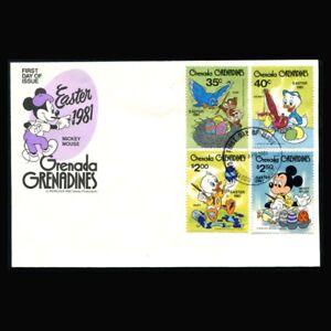 Grenada Grenadines, FDC, Disney, Easter, 1981, Chip, Dewey, Huey, GG119-A